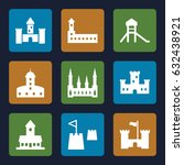 fortress icons set. set of 9... | Shutterstock .eps vector #632438921