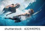 underwater shot of the couple... | Shutterstock . vector #632440901