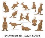 12 kangaroo poses vector... | Shutterstock .eps vector #632456495