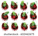 vector set of twelve bloody red ... | Shutterstock .eps vector #632462675