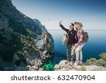 young couple hikers taking... | Shutterstock . vector #632470904