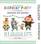 kids birthday party invitation... | Shutterstock .eps vector #632475701