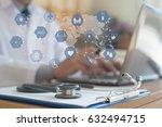 doctor working on laptop... | Shutterstock . vector #632494715