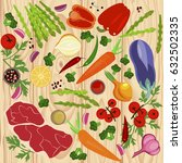banner of raw food for cooking. ... | Shutterstock . vector #632502335