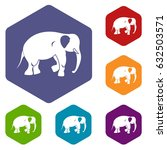 elephant icons set hexagon... | Shutterstock .eps vector #632503571