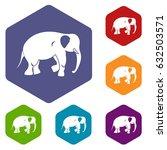 elephant icons set hexagon... | Shutterstock .eps vector #632503571