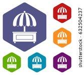 shopping counter with umbrella...   Shutterstock .eps vector #632504237