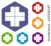 crossroad icons set hexagon... | Shutterstock .eps vector #632506187