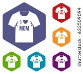 shirt with print icons set... | Shutterstock .eps vector #632509094