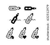 message bottle icon set | Shutterstock .eps vector #632512979