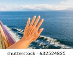 woman showing new wedding ring... | Shutterstock . vector #632524835
