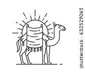 arabian camel in desert  vector ... | Shutterstock .eps vector #632529065