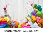colored fabric  yarn  thread ... | Shutterstock . vector #632533424
