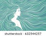 girl with streaming hair ... | Shutterstock .eps vector #632544257
