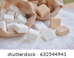 white and raw cube sugar  on... | Shutterstock . vector #632544941