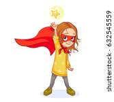 cute girl in super hero costume ... | Shutterstock .eps vector #632545559