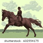 dressage. hand drawn engraving. ... | Shutterstock .eps vector #632554175