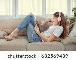 beautiful teenage girl with... | Shutterstock . vector #632569439