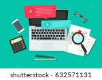 online chat on laptop computer... | Shutterstock .eps vector #632571131