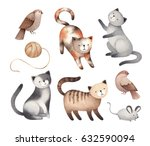 Stock photo watercolor illustrations of cute cats mouse birds 632590094