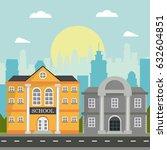 school and bank building... | Shutterstock .eps vector #632604851