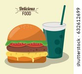 delicious food burger tomato... | Shutterstock .eps vector #632612699