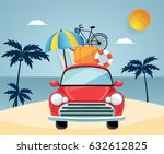 travel by car. flat design with ... | Shutterstock .eps vector #632612825