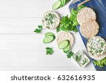 rice wafers  cheese  cucumbers... | Shutterstock . vector #632616935