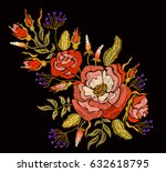 ethnic embroidery rose peony... | Shutterstock . vector #632618795