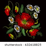 ethnic embroidery poppy flowers ... | Shutterstock . vector #632618825
