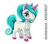 cute cartoon unicorn. fantasy... | Shutterstock .eps vector #632619017