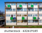facade of council housing flats ... | Shutterstock . vector #632619185