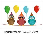 three cute colored owls sitting ... | Shutterstock .eps vector #632619995
