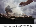 grilled pork ribs on the grill  | Shutterstock . vector #632623934
