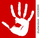hand print on a red background. ... | Shutterstock .eps vector #63263044