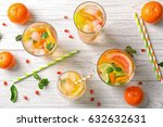 glassware with refreshing... | Shutterstock . vector #632632631