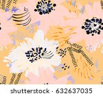 roughly drawn spring flowers... | Shutterstock .eps vector #632637035