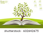 green paper tree growing from... | Shutterstock .eps vector #632642675