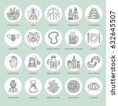 alternative medicine line icons.... | Shutterstock .eps vector #632645507
