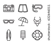 summer beach line icon set...