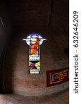 Small photo of CABRERA, COLOMBIA - MAY 7: A stained glass window at a church in Cabrera, Colombia on May 7, 2016.