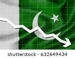 White arrow down on the flag of Pakistan as background