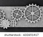 metal gears mechanism geared 3d ... | Shutterstock . vector #632651417