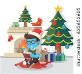 blue boy reading christmas... | Shutterstock .eps vector #632652605