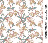 magnolias seamless pattern.... | Shutterstock .eps vector #632652785