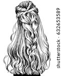 woman with gorgeous braided... | Shutterstock .eps vector #632653589