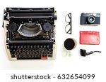 work space   top view   vintage ... | Shutterstock . vector #632654099