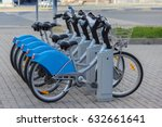 silver blue bicycle at parking  ... | Shutterstock . vector #632661641