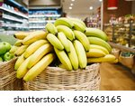 basket with fresh ripe bananas... | Shutterstock . vector #632663165