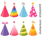 birthday party hats set | Shutterstock .eps vector #632663459